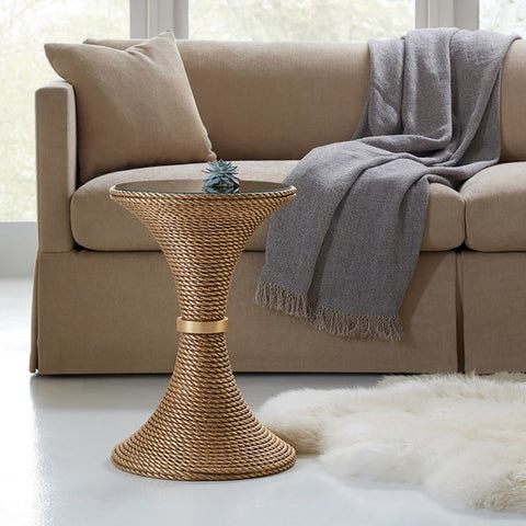 Nautical Cast Resin End Table In Gold or White With Clear Tempered Glass Top by Somerset Bay