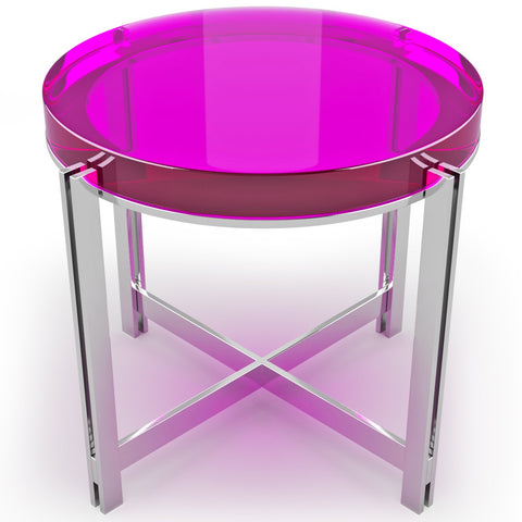 Crystal Candy Coffee Table With Chrome Base And Ten Color Choices by Arditi Collection
