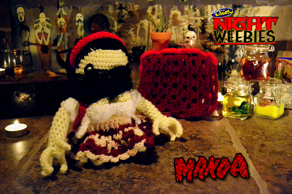 Legend of the Adorbs NightWeebie Manda crochet doll Clive Barker's Nightbreed Midian Unmade Cell of Curtains Timothy Baker