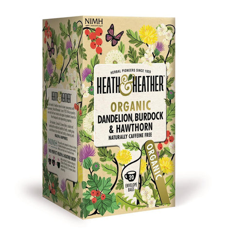 Heath and Heather Dandelion Burdock and Hawthorn Tea Hiba Health Foods