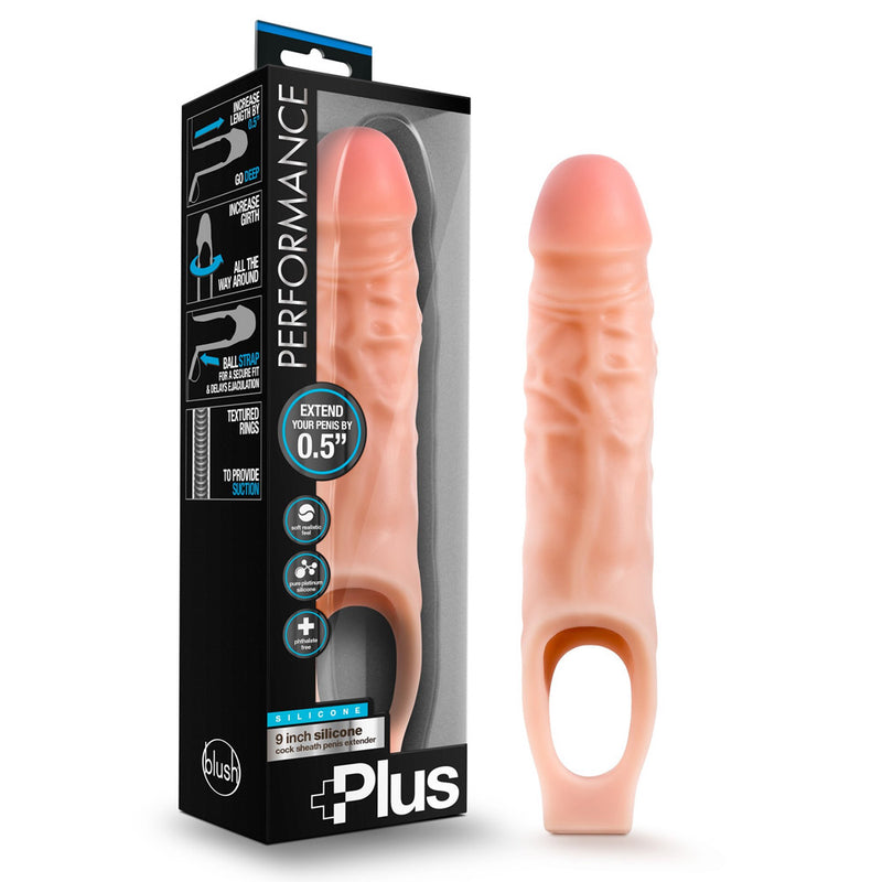 Blush Performance Plus - 9 Inch Silicone Cock Sheath Penis Extender - Vanilla