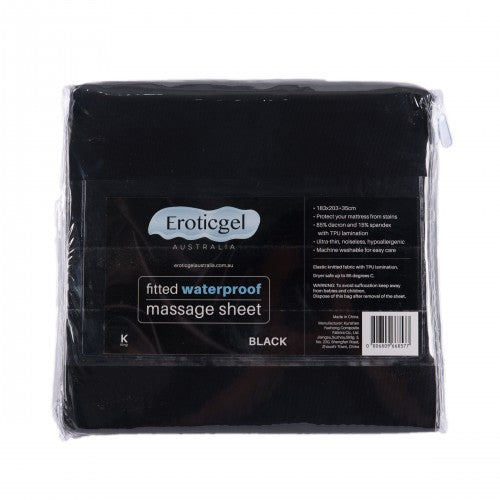 Eroticgel Black Waterproof Fitted Sheet Queen