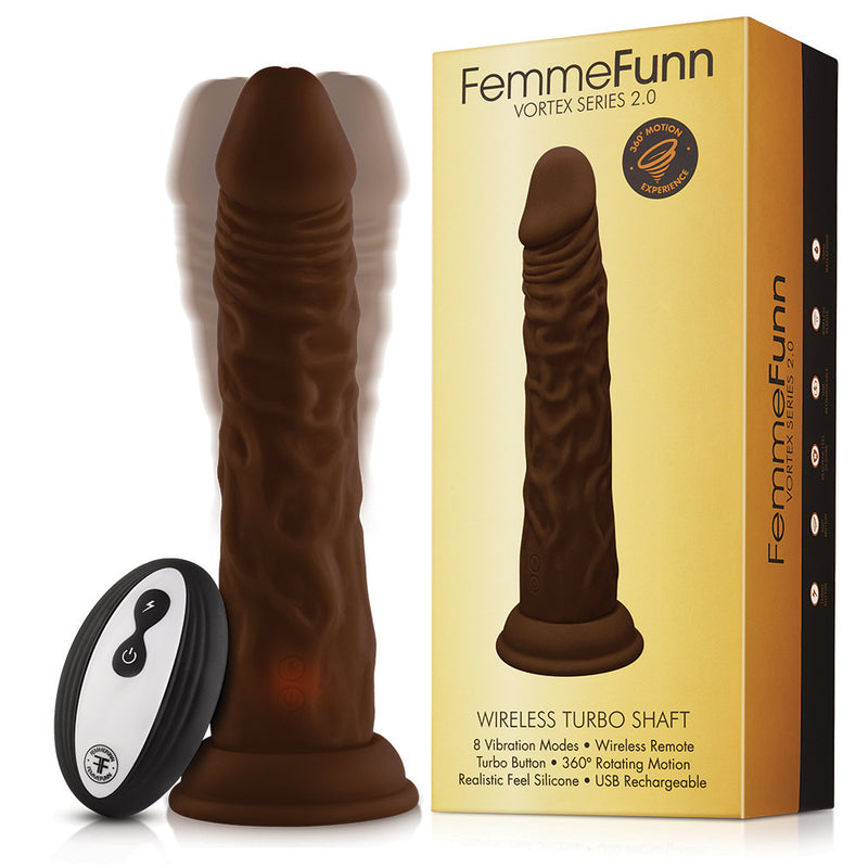 FemmeFunn Turbo Shaft 2.0 Remote Controlled Vibrating Dildo - Brown
