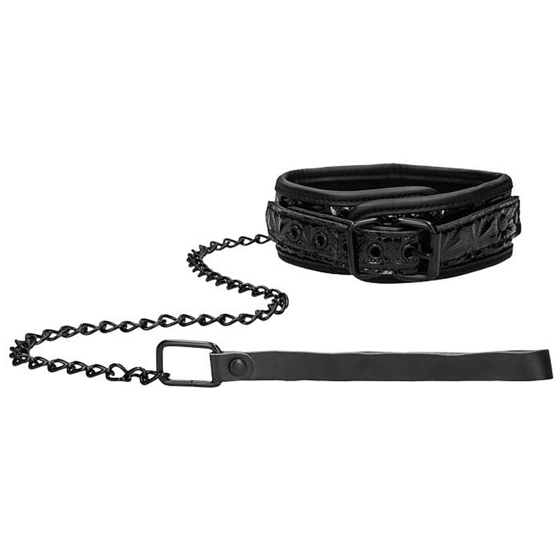 OUCH! Luxury Collar With Leash Black