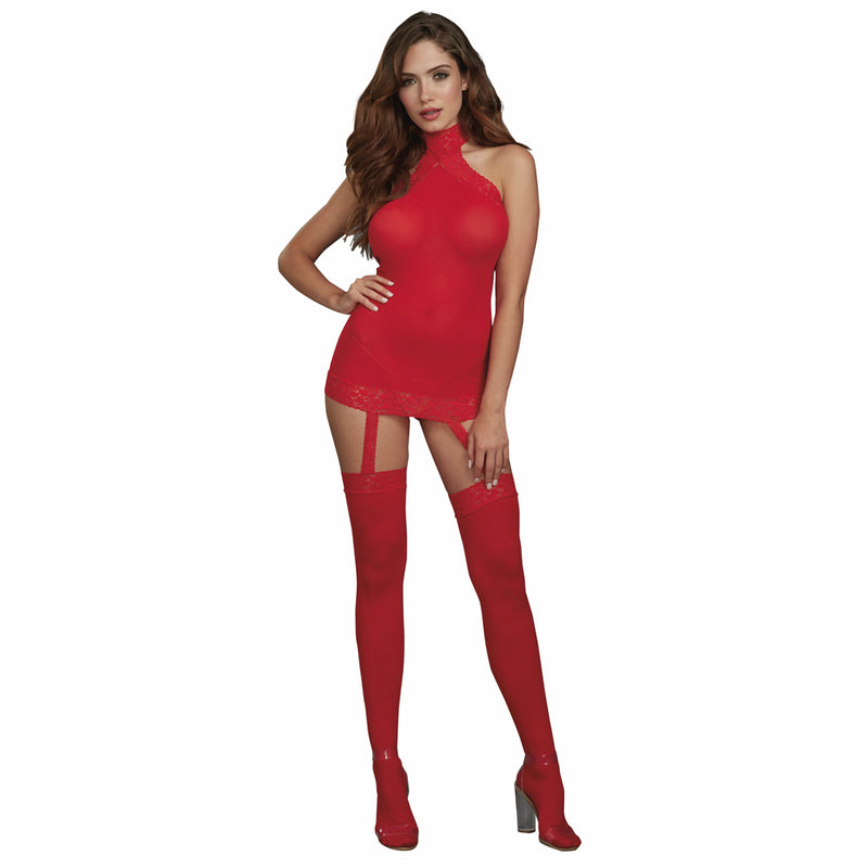 Dreamgirl Lingerie Body Stocking Dress Red 0035