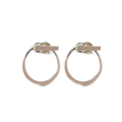 Circle and Bar Silver Earrings