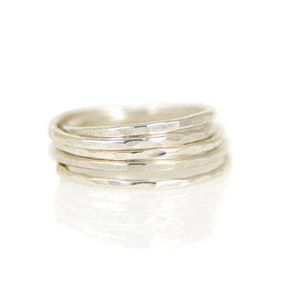 MMR Silver Hammered Stacking Ring