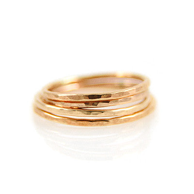 MMR Gold Hammered Stacking Ring