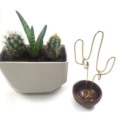 Brass Cactus Ring Stand