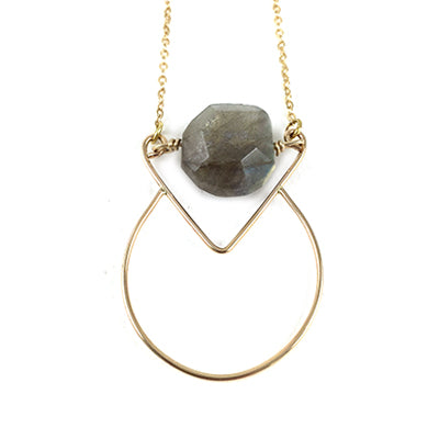 MM Necklace Labradorite Coin