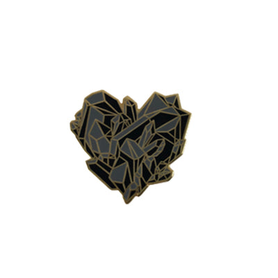 Enamel Pin Black Crystal Heart