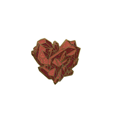 Enamel Pin Pink Crystal Heart