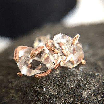 Herkimer Diamond Goldfill Stud Earrings