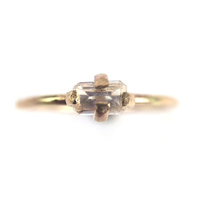 Moonstone Rectangle Tiny Claw Ring