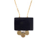 Onyx and Brass Circles Necklace