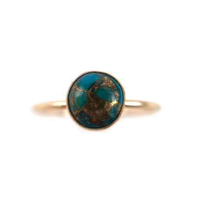 Turquoise and Copper Medium Ring