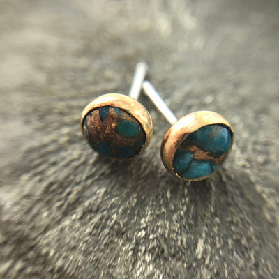 Turquoise and Copper Stud Earrings