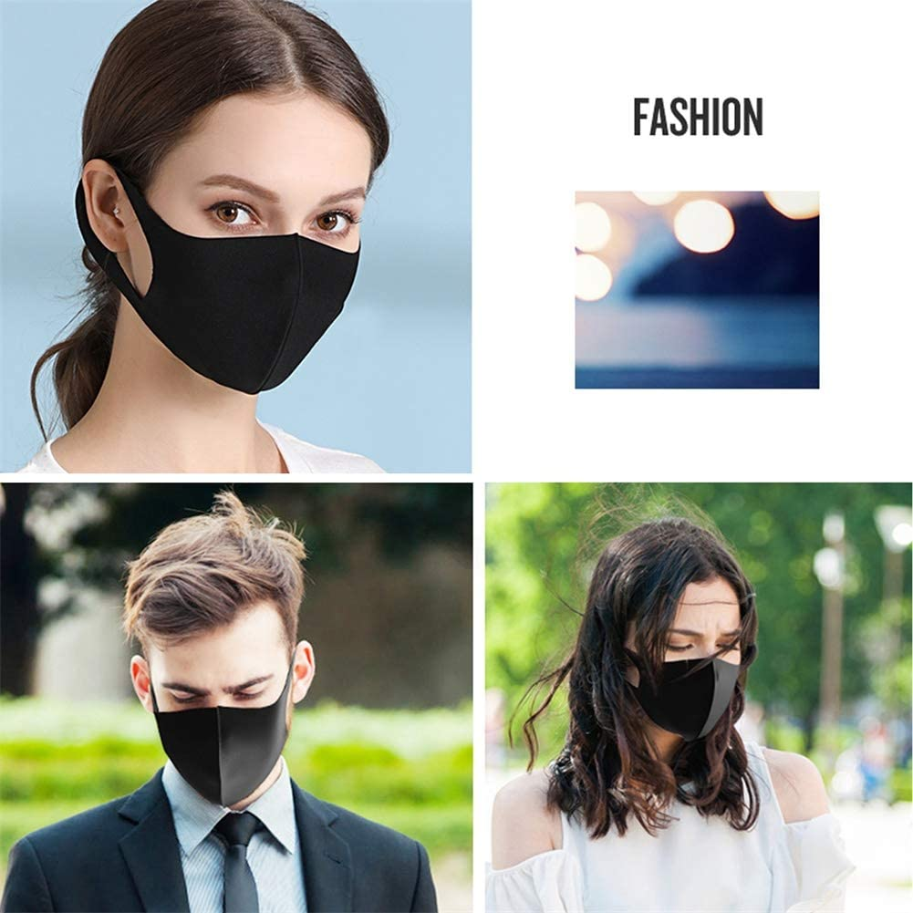 Black Unisex Foam Cover Soft and Washable Masks