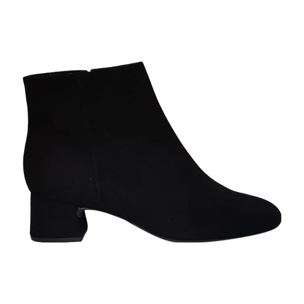 Unisa - Black Suede Leather lined Ankle Boot with a Low Heel