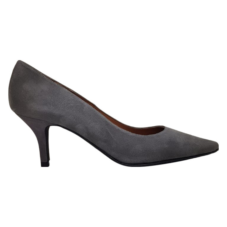 Brenda Zaro - Grey Leather Lined Court Shoes with a Suede Upper and Kitten Heel