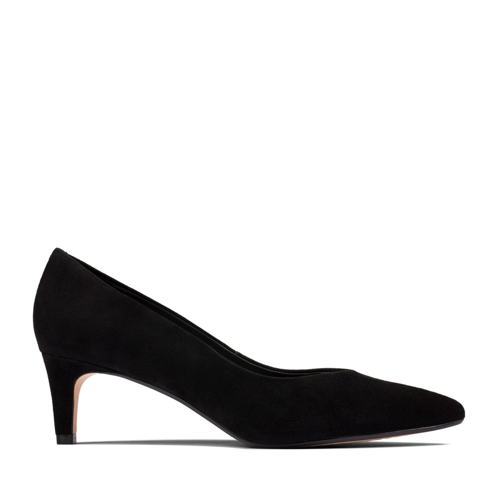 Clarks - Black Suede Kitten Heel Court