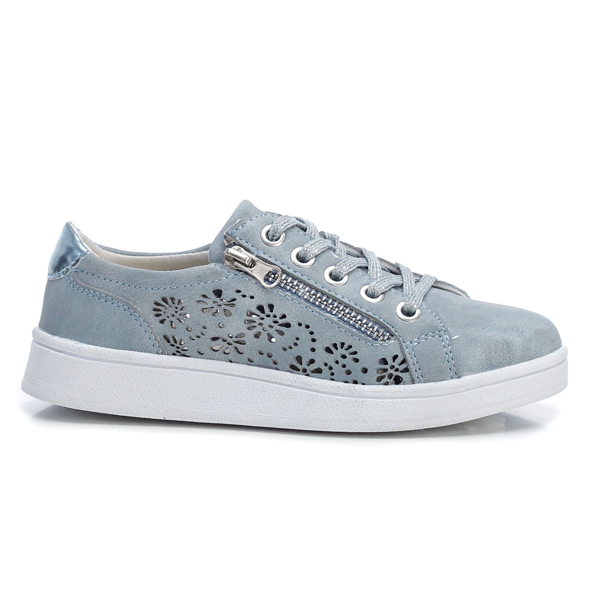 XTI - Kids Denim Blue Perforated Laced Trainers