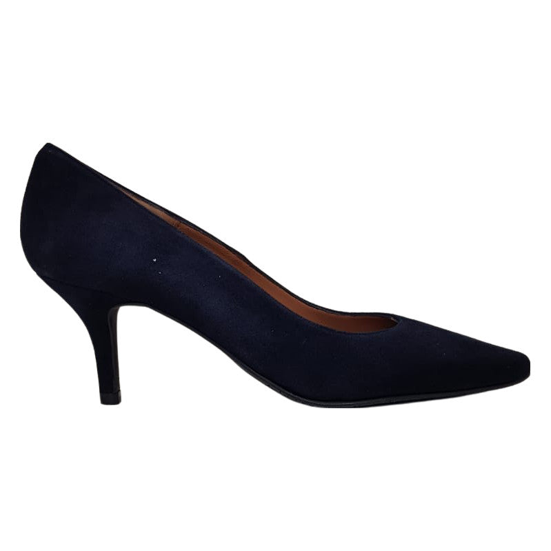 Brenda Zaro - Navy Leather Lined Court Shoes with a Suede Upper and Kitten Heel