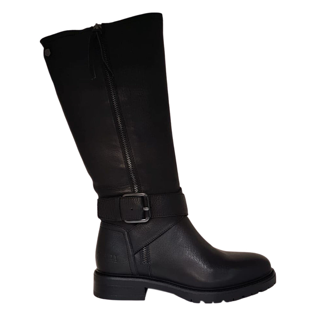 Carmela - Black Leather Med Calf