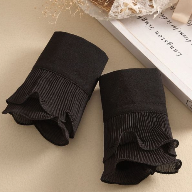 Rachels - Black Pleated Cuffs - Wardrobe Staple Piece