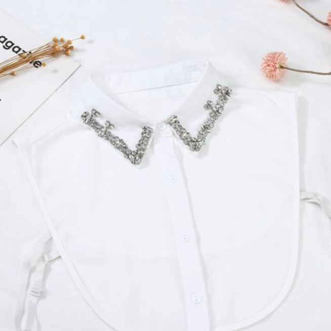Rachels - White Shirt Collar with Detail - Wardrobe Staple Piece