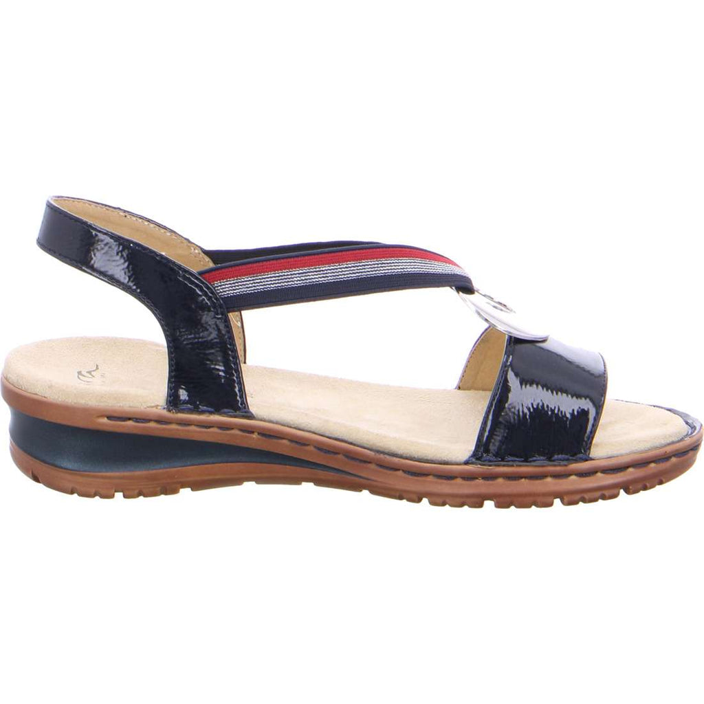 Ara - Navy Patent Sandal with Nautical Trim and Silver Disk