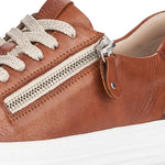 Remonte - Tan Leather Superlight Laced Trainers With a Zip