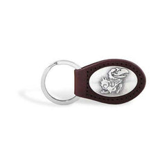 Kansas Jayhawks NCAA  Zep-Pro Leather Concho Key Fob Brown