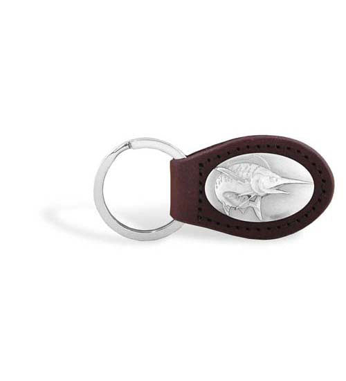 Marlin Zep-Pro Leather Concho Key Fob Brown