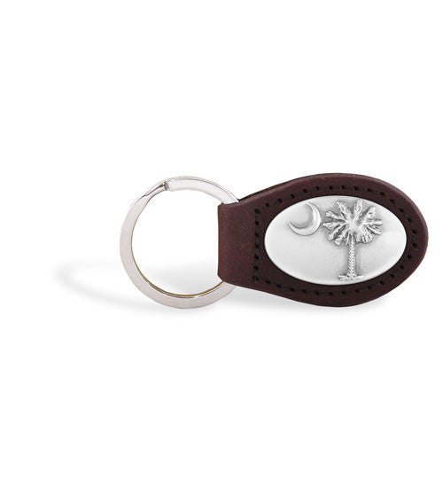 South Carolina Palmetto Tree Zep-Pro Leather Concho Key Fob Brown