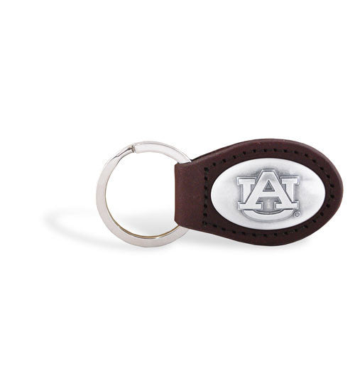 Auburn Tigers NCAA  Zep-Pro Leather Concho Key Fob Brown