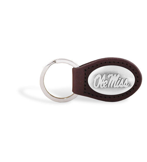 Ole Miss Rebels NCAA Zep-Pro Leather Concho Key Fob Brown