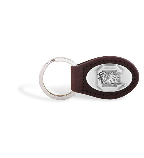 South Carolina Gamecocks NCAA Zep-Pro Leather Concho Key Fob Brown