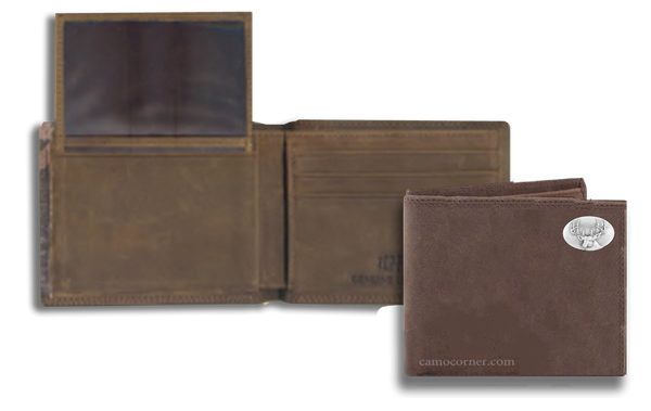 Buck Deer Crazy Horse Bi Fold Wallet