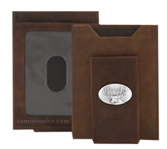 Buck Deer Crazy Horse Money Clip Wallet