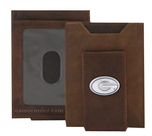 Georgia Crazy Horse Money Clip Wallet
