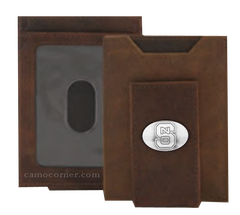 North Carolina State Crazy Horse Money Clip Wallet