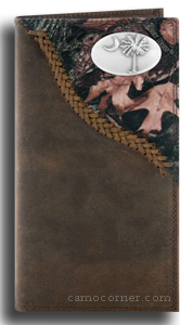 South Carolina Palmetto Tree Fence Row Camo Long Wallet