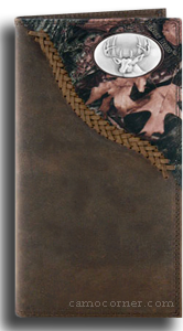 Buck Deer Fence Row Camo Long Wallet