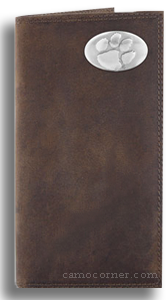 Clemson Crazy Horse Leather Roper Wallet