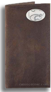 Kansas State Crazy Horse Leather Roper Wallet