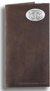 Texas A&M Crazy Horse Leather Roper Wallet