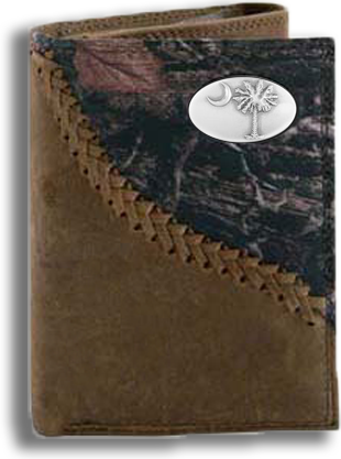 South Carolina Palmetto Tree Fence Row Camo Tri Fold Fold Wallet