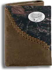 Buck Deer Fence Row Camo Tri Fold Fold Wallet