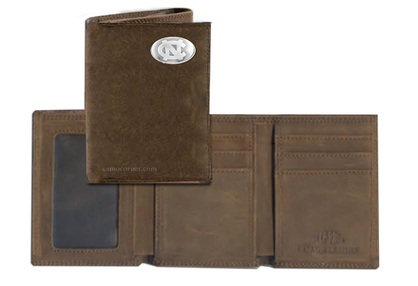 North Carolina Crazy Horse Tri Fold Wallet